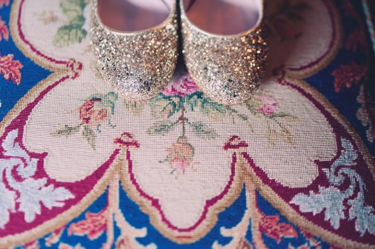 glitter wedding shoes // joyeuse photography
